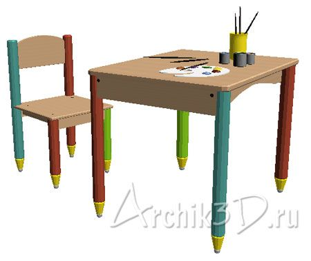 Столик и стульчик с красками и кистями