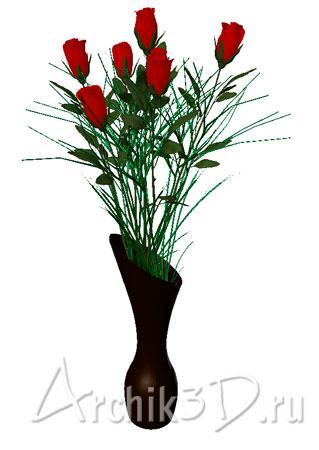 Розы в вазе для archicad