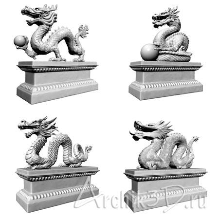Китайские драконы для artlantis 4 шт